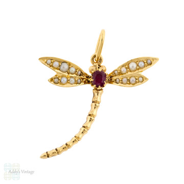 Ruby & Seed Pearl Dragonfly Pendant, Large 9ct Yellow Gold Bug Converted Necklace.