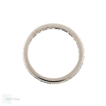 Sapphire & Diamond 18ct Eternity Ring, Vintage Full Hoop Wedding Band Size L.5 / 6.25.