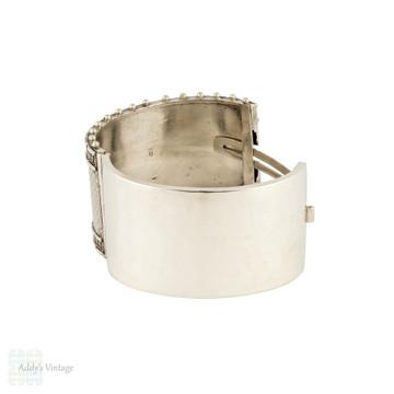 Victorian Sterling Silver Wide Engraved Bangle. Antique 1870s Bracelet.