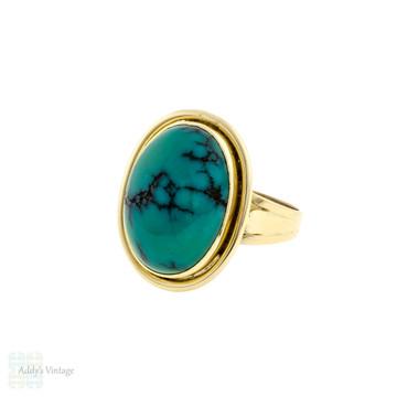 Turquoise Mid Century Ring, Large Vintage 9ct 9k Gold Bezel Set Oval Ring.