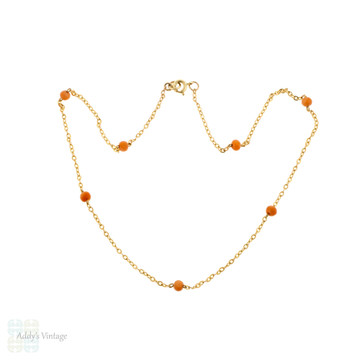 Vintage Coral Station Necklace, Mid Century 9ct 9k Yellow Gold Chain, 39 cm / 15 inches.