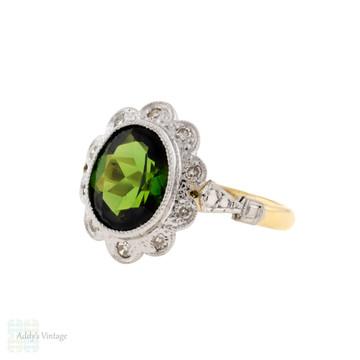 Green Tourmaline & Diamond Halo Ring, Vintage 18ct Gold Floral Ring.