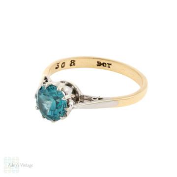 RESERVED Blue Zircon Single Stone Ring, 1940s Vintage 9ct 9k Gold Solitatire.