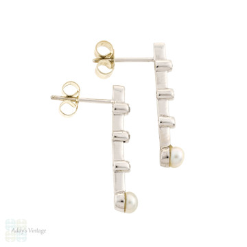 Old Cut Diamond & Cultured Pearl Bar Stud Earrings, Vintage 1940s 9ct 9k White Gold.