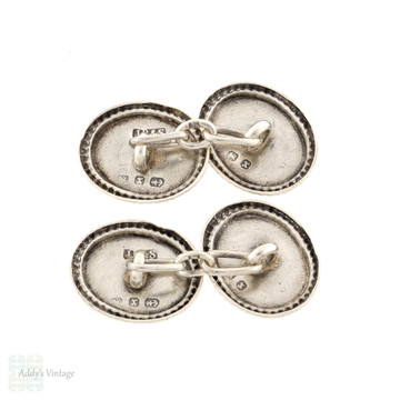 Victorian Sterling Silver Horseshoe Cuff Links, 1890s Engraved Double Faced Cufflinks.