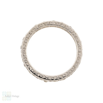 Antique Platinum Diamond Eternity Ring, Engraved Old Mine Cut Full Hoop Band Size L.5 / 6.