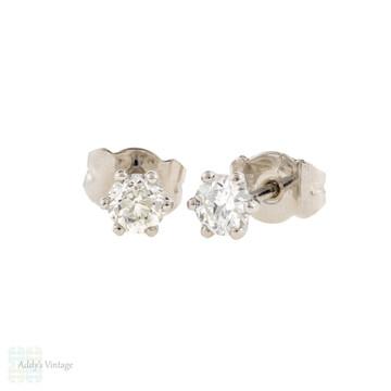 Classic Old European Diamond Stud Earrings, Platinum Six Prong Baskets 0.48 ctw.