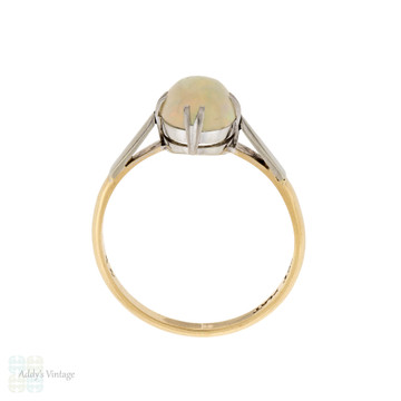 Vintage Opal Solitaire Ring, Double Claw Design 9ct 9k Gold & Platinum Setting.
