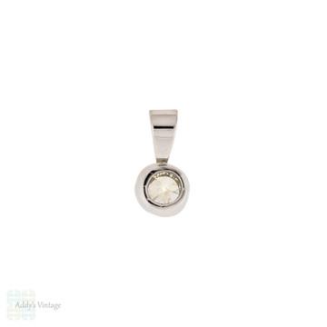 Old European Cut Diamond Pendant, 0.25ct Bezel Set 18ct 18k White Gold Pendant.