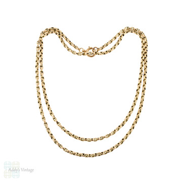 Antique 9ct Belcher Link Chain, Slinky 9k Gold Necklace 75 cm / 29.5 inches.