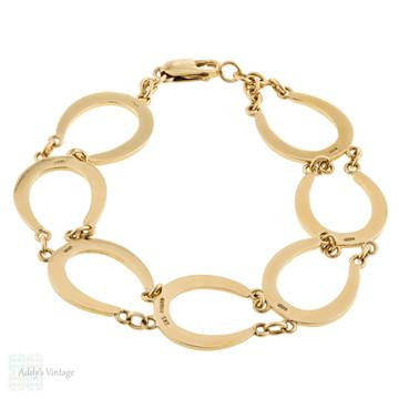 Horseshoe 9ct Gold Bracelet, Unique Vintage 1970s Equestrian Theme Link Bracelet.