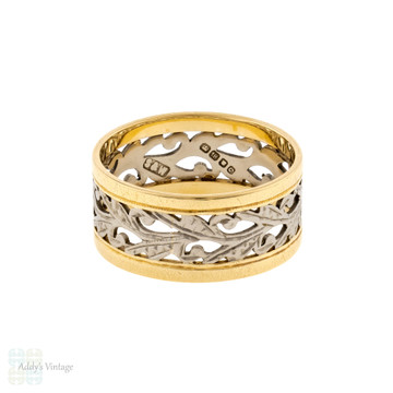 Wide Engraved Two-Toned 18ct Band, Pierced Floral Design 1950s Ring Size P.5 / 8.