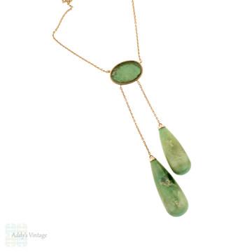 Edwardian Aventurine 12ct Necklace, Antique Double Drop Negligee 12k Rose Gold Necklace.