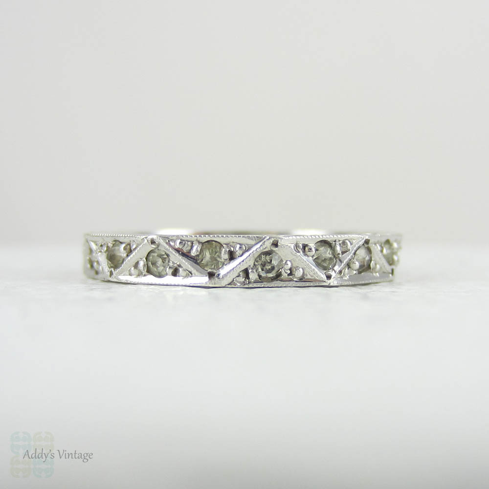 Vintage silver and paste Art Deco eternity ring.