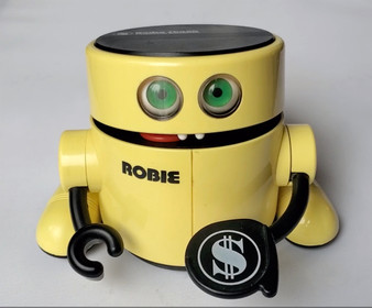 Vintage Radio Shack Robie Robot Bank - Gobbles Coins N Eyes & Tongue Move! WORKS