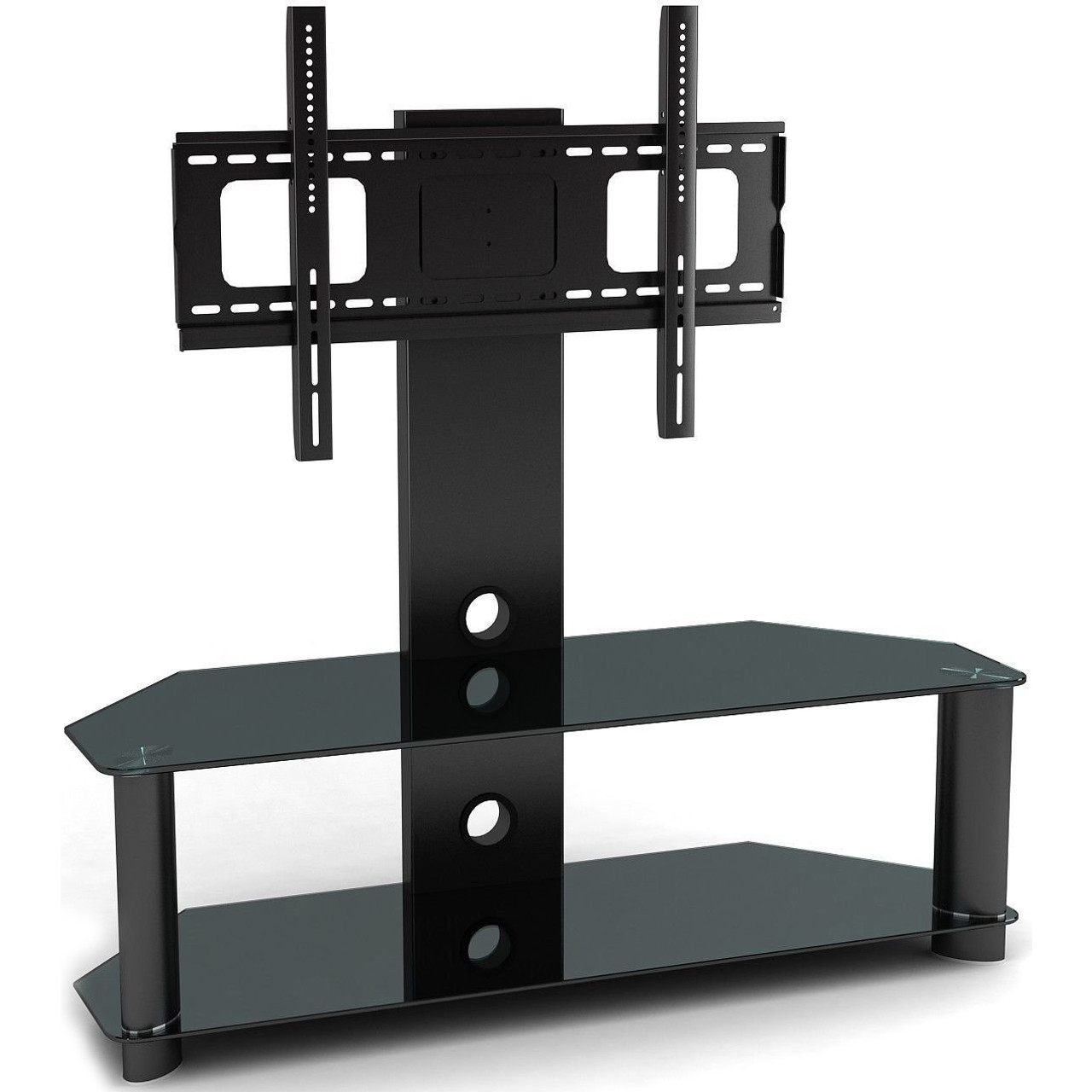 Double Shelf Tv Stand Mount Unit 2xhome Modern And Contemporary