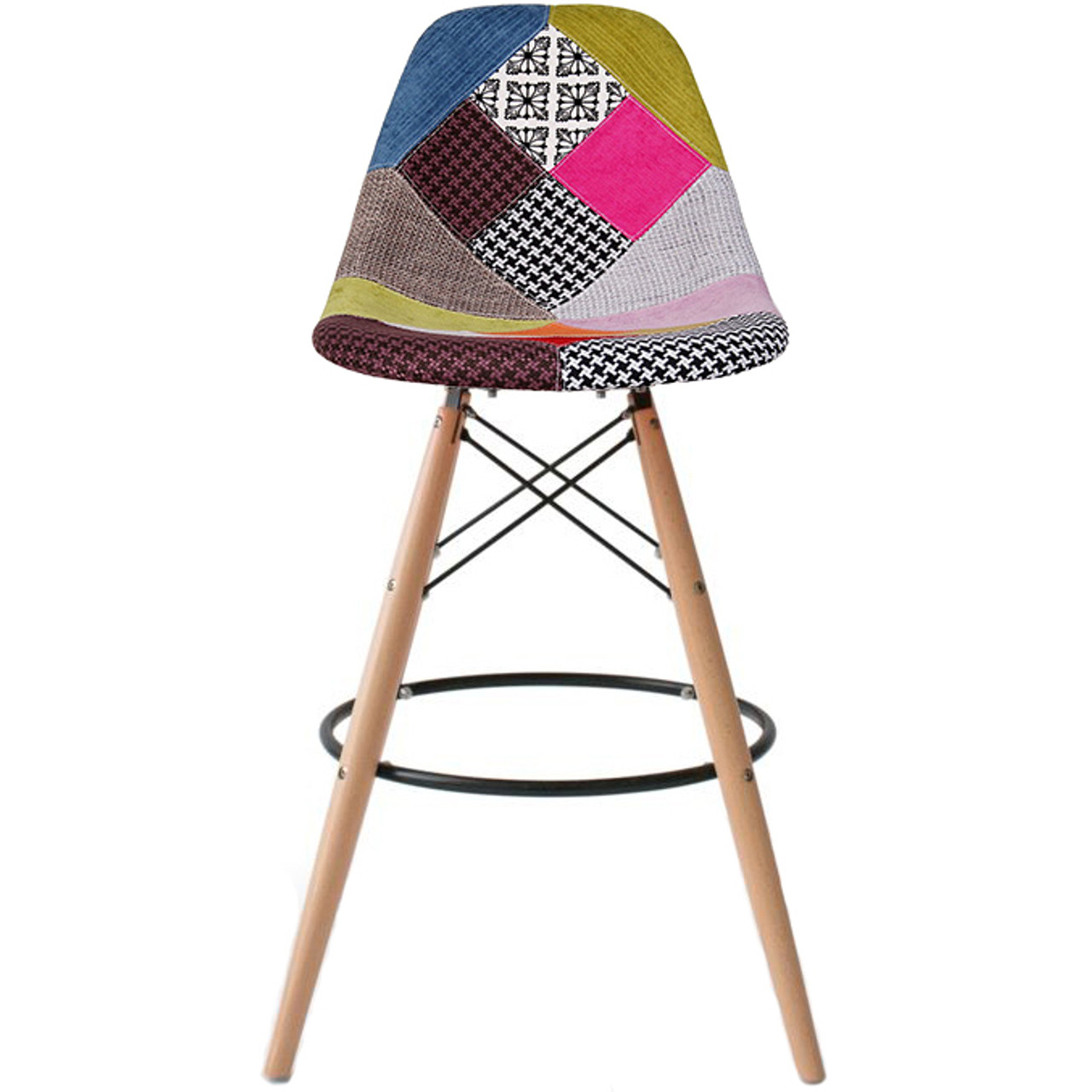 Miraculous Natural Eiffel Natural Wooden Leg Patchwork Bar Stool 26 Seat Height Or 29 Seat Height Caraccident5 Cool Chair Designs And Ideas Caraccident5Info