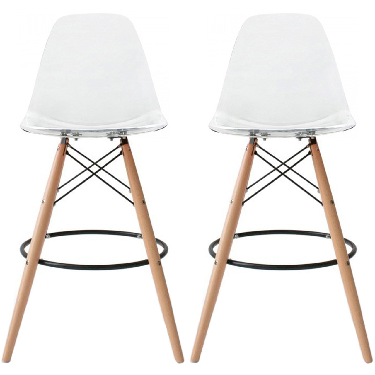 Set Of 2 Natural Eiffel Natural Wooden Leg Clear Bar Stool 25