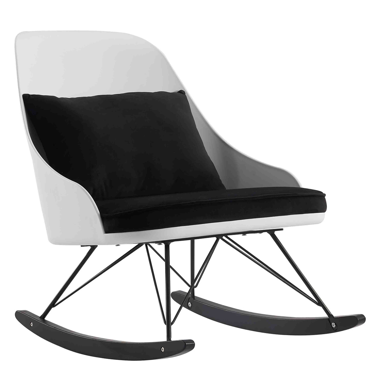 White Modern Large Rocking Chair With Cushion   2xhome   Modern And  Contemporary Furniture