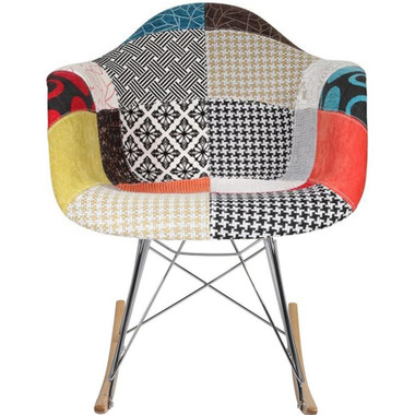 Chrome & Wood Base Patchwork Rocker