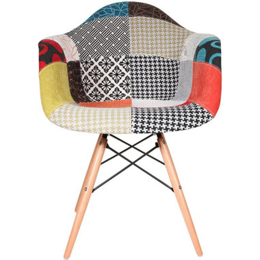 Natural Wood Patchwork Armchair