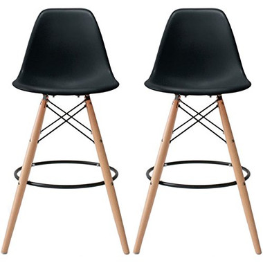 "Set of 2, EIFFEL Natural Wood Bar Stool - 28"" Seat Height"