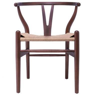 Modern Wood Chair With Natural Woven Wishbone Armchairs