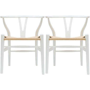 Set of 2 Modern Wood Dining Natural Woven Wishbone Armchairs