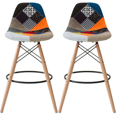"""Set of 2, EIFFEL Natural Wood Patchwork Bar Stool - 28"""" Seat Height"""