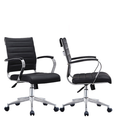 Set of 2, Mid Back Ribbed With Arms Leather Office Chair