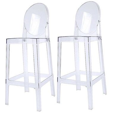 Set of 2 Victoria Style Ghost Bar Stools Counter Stools Clear