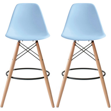 """Set of 2, Natural EIFFEL Natural Wooden Leg Bar Stool - 25"""" Seat Height or 28"""" Seat Height"""