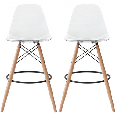 """Set of 2 Natural EIFFEL Natural Wooden Leg CLEAR Bar Stool - 25"""" Seat Height or 28"""" Seat Height"""