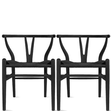Set of 2 Wishbone Wood Black Woven Seat Open Y Back Armchair
