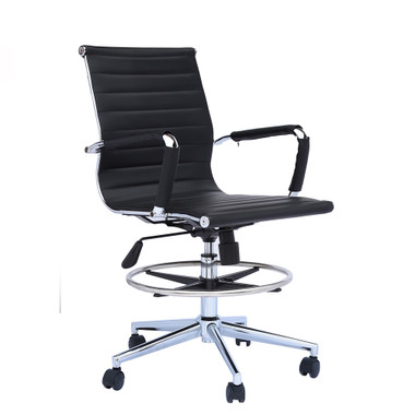 Office Chair Ribbed Mid Back With Wheels And Arms with Chrome Foot Rest