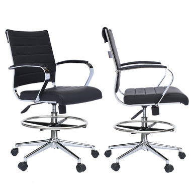 Set of 2 Office Chair Ribbed Padded Open Mid Back With Wheels And Arms Chrome Foot Rest