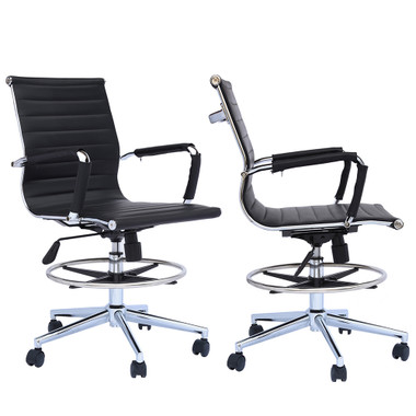 Set of 2 Office Chair Ribbed Mid Back With Wheels And Arms Chrome Foot Rest
