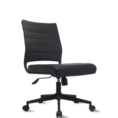 Ergonomic Conference Mid Back Office Armless Ribbed Chair on Black Base