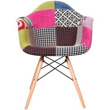EIFFEL Fabric Ann Natural Wood Legs Arm Chair