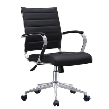 Mid Back Ribbed With Arms Leather Office Chair