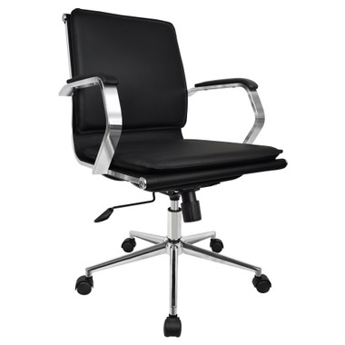 Black Modern Solid Mid Back PU Leather with Arm Adjustable Height
