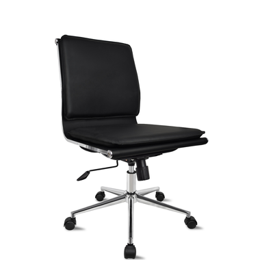 Black Modern Solid Mid Back PU Leather with Armless Adjustable Height