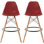 "Set of 2, EIFFEL Natural Wood Bar Stool - 28"" Seat Height"