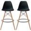 "Set of 2, EIFFEL Natural Wood Bar Stool - 25"" Seat Height"