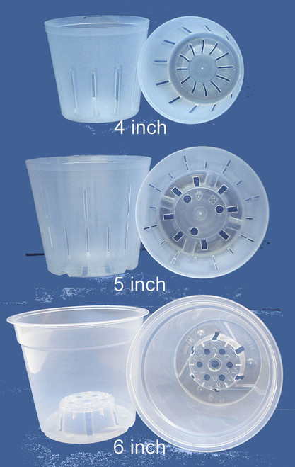 Clear Plastic Pot for Orchids Assortment 4inch, 5inch, 6inch
