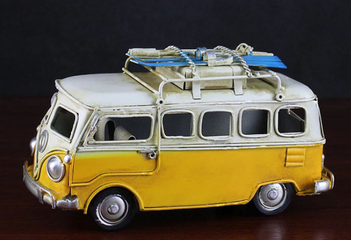 Classic Metal Crafts VW Bus with Skiis on Top
