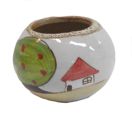 Round Hand Painted 3 1/2 Inch Glazed Pot