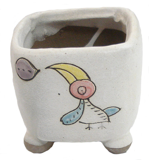 Square Hand Painted 3 Inch Whimsical Bird White Pottery Pot
