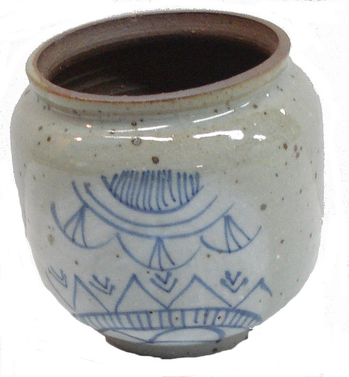 Round Hand Painted 3 1/2 Inch Blue Glazed Pottery Pot