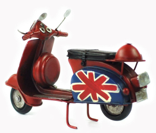Vintage Style Metal Crafts Motorcycle / Antique Scooter (Red)